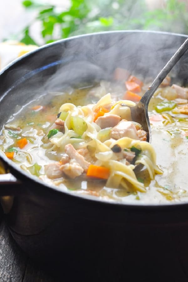Ladle in a pot of homemade chicken noodle soup