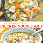 Long collage of easy chicken noodle soup