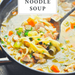 Ladle in a pot of easy chicken noodle soup recipe with text title box at top