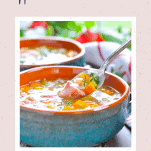 Spoon in a bowl of easy ham and bean soup with a text title at the top