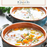 White bean and ham soup in two bowls with text title box at the top