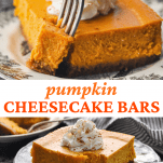 Long collage image of pumpkin cheesecake bars