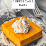 Front shot of pumpkin cheesecake bars with a text title box at the top