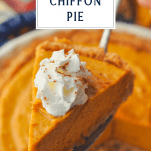 Slice of chiffon pumpkin pie on a server with text title box at top