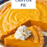 Slice of chiffon pumpkin pie with a text title box at the top
