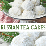 Long collage image of Russian Tea Cakes