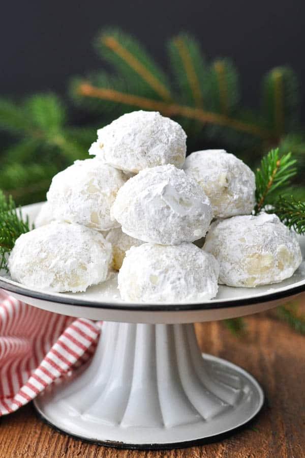 Front shot of a platter of Russian Tea Cake cookies