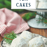 Russian tea cakes on a plate with text title box at the top