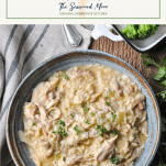 Bowl of slow cooker chicken and rice with text title box at top
