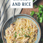 Overhead image of slow cooker chicken and rice recipe with text title box at top