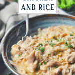 Slow cooker chicken and rice with fork and title at top