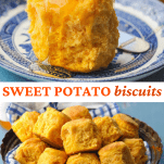 Long collage image of Sweet Potato Biscuits