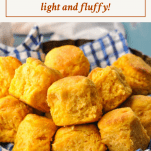 Front shot of a basket of sweet potato biscuits with text title box at the top