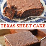 Collage image of Texas Sheet Cake