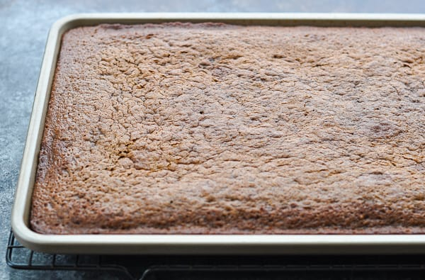 Cooling a Texas Sheet Cake in a jelly roll pan