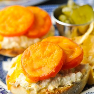 Close up shot of the best tuna melt recipe on a plate