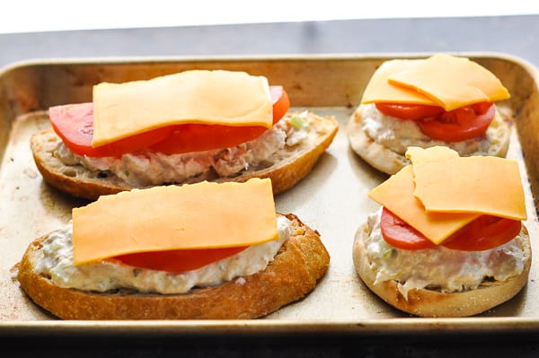 How to make a tuna melt process shot of assembling the open faced sandwiches