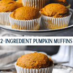 Long collage image of 2 Ingredient Pumpkin Muffins