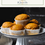 Tray of homemade pumpkin spice muffins with text title box at the top