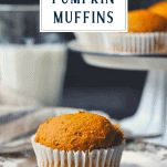 Easy pumpkin muffin recipe on a plate with text title box at the top