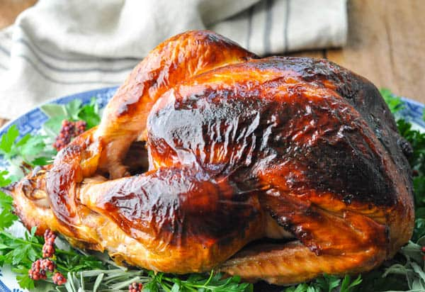 Front shot of a brined turkey on a table