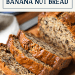 Sliced loaf of banana nut bread with text title box at the top