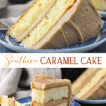 Long collage image of Caramel Cake