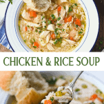 Long collage image of chicken and rice soup