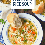 Text title overlay on an image of chicken and rice soup in a blue and white bowl
