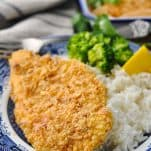 Close up front shot of chicken breaded with french fried onions served on a plate with rice and broccoli