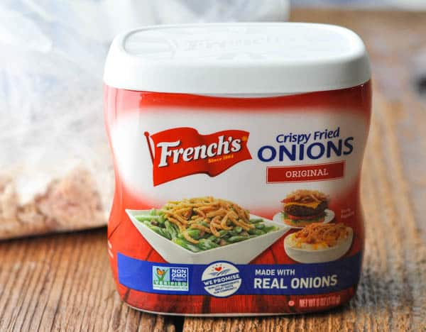 Can of French's crispy fried onions