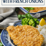 Plate of french fried onion chicken with text title box at the top