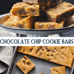 Long collage image of Chocolate Chip Cookie Bars