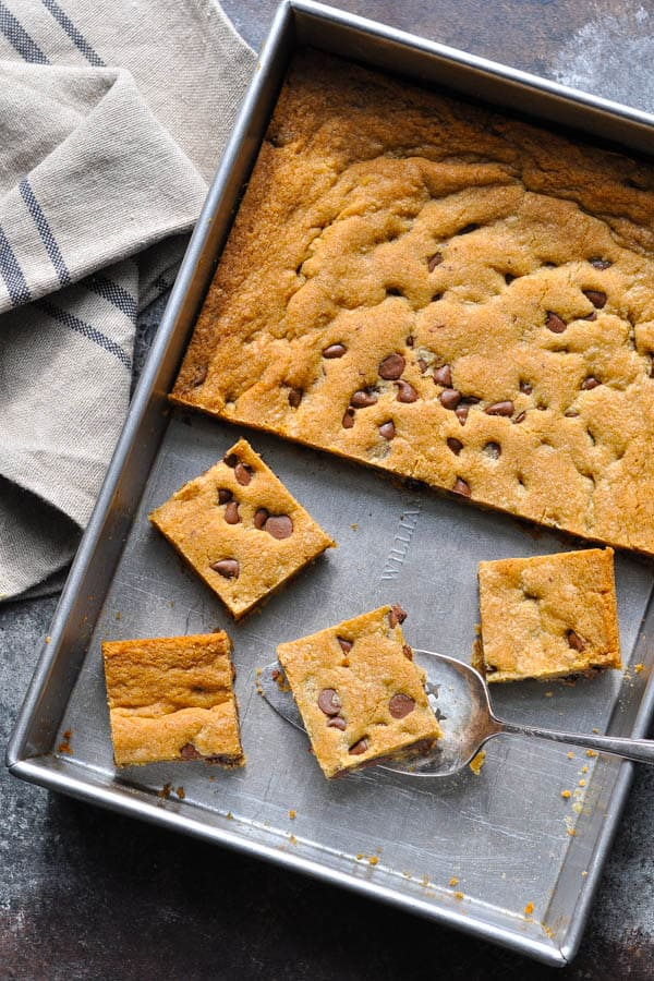 Close overhead image of a 9 x 13 pan full of chocolate chip cookie bars