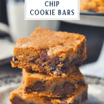 Stack of chewy chocolate chip cookie bars with a text title box at the top