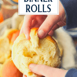 Hand opening a soft yeast dinner roll with text overlay title