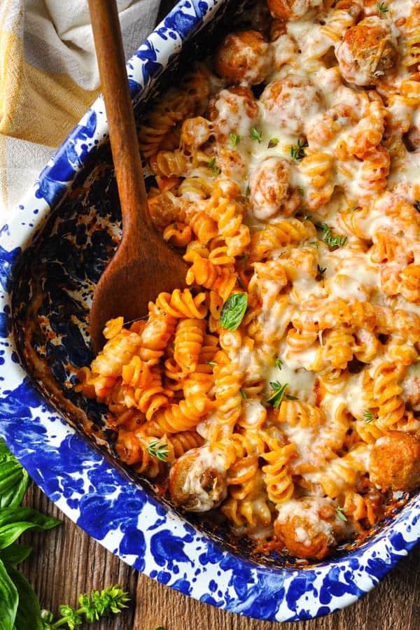 Close overhead image of an easy meatball casserole recipe
