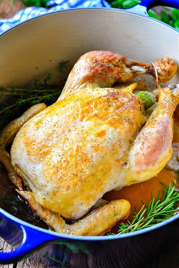 Close up front shot of a Dutch Oven chicken surrounded by fresh herbs