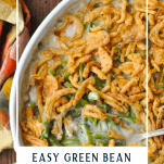 Overhead image of easy green bean casserole with text overlay