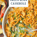 Overhead shot of green bean casserole with text title at top