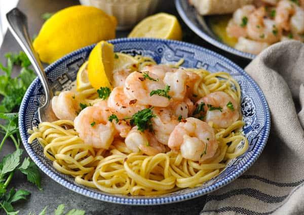 Horizontal shot of a bowl of easy shrimp scampi recipe