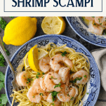 Easy shrimp scampi recipe served in a blue and white bowl with text title overlay at top