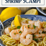 Text title overlay on an image of easy shrimp scampi in a bowl