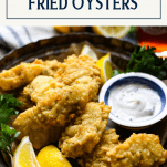 Front shot of southern fried oysters with text title box at top