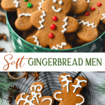 Long collage image of Soft Gingerbread Man Cookies