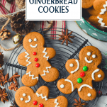 Overhead shot of decorated gingerbread cookies with text title overlay