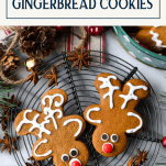Reindeer cookies out of gingerbread man with text title box at top