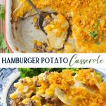 Long collage image of Hamburger Potato Casserole