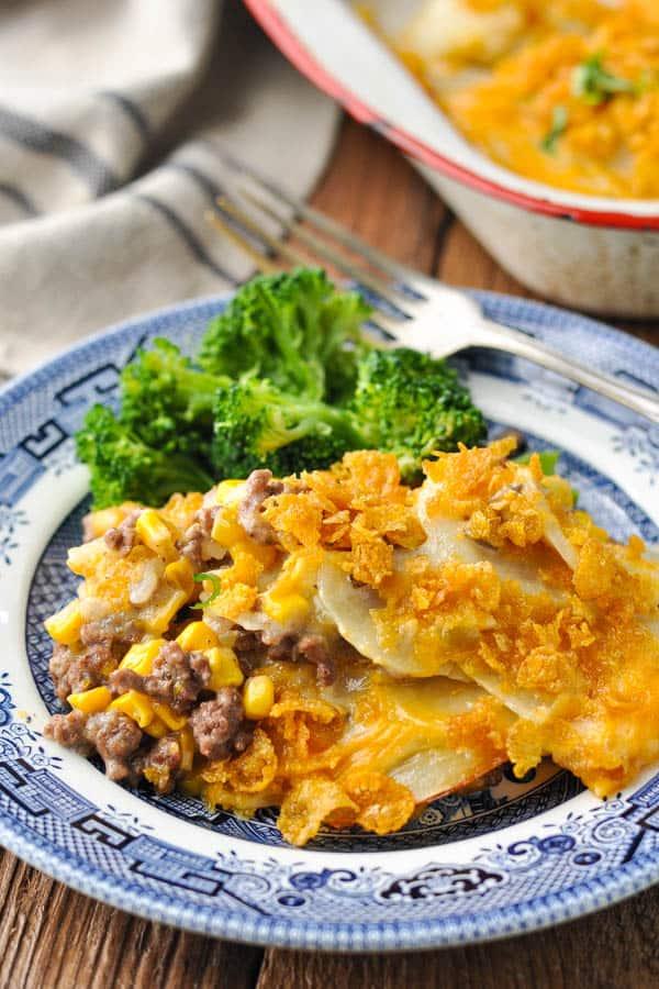 Front shot of cheesy hamburger potato casserole on a plate