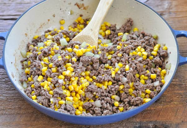 Ground beef with corn in a skillet